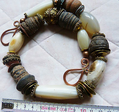 African Necklace, ancient banded white agate, antique spindle whorls, OOAK