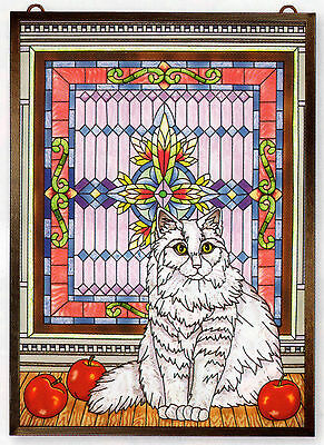 Tiffany Cat Contemplation 11X15 Glass Art Panel * White Stained Glass Background