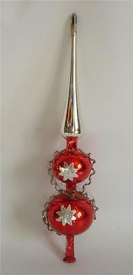 """Vintage Xmas Red Blown Mercury Glass Tree Topper Spire Wire Foil Stars 12.5"""""""