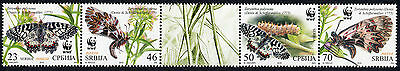 SERBIA 2016 WWF Insects Butterflies se-tenant set MNH