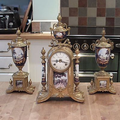Antique Style Vintage Clock Garniture Set Good Quality Franz Hermle Imperial