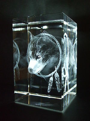 Laser Crystal Paperweight Wolf 3561 New Presentation Boxed