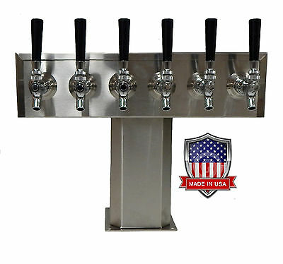 Stainless Steel Draft Beer Tower Made in USA -6 Faucets - AIR COOLED TTB-6SS-OP
