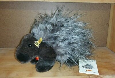 Rare Steiff Piky the Porcupine Stuffed Plush Animal with Tags 1998-1999 Disco.