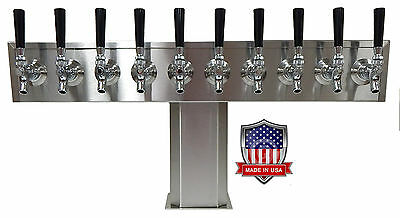Stainless Steel Draft Beer Tower Made in USA -10 Faucets- AIR COOLED TTB-10SS-OP