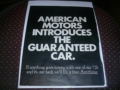 1972 Amc American Motors Buyer Protection Plan 2 Page Ad