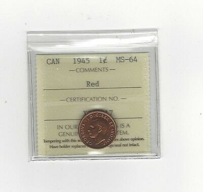 **1945**,ICCS Graded Canadian, Small One Cent, **MS-64**