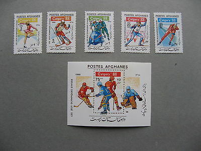 AFGHANISTAN, set + S/S MNH 1988, Olympic Winter Games Galgary