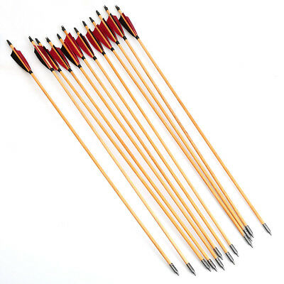 """12PCS Traditional Wood Arrows Turkey Feather 33"""" Archery For Longbow Recurve"""