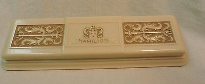 Vintage Hamilton Celluloid Carved Watch Box W Royal Blue Interior! Beautiful!!!