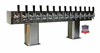 Stainless Steel Draft Beer Tower Made in USA 14 Faucet AIR COOLED - PTB-14SS-OP