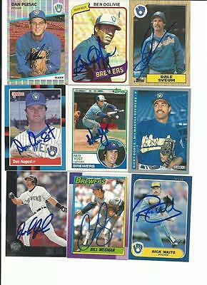 Milwaukee    Brewers    9   Card   Autographed   Lot