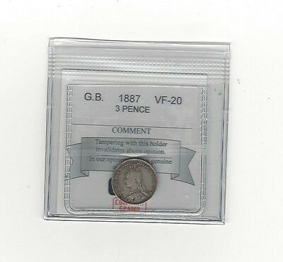 **1887**Great Britain, Threepence Coin Mart Graded**F-12**