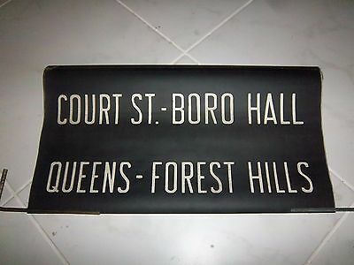 Nyc Subway Vintage Collectible Roll Sign R1-9 Queens Forest Hills Court St Boro