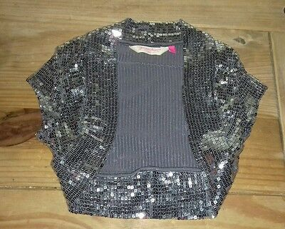 Girls New Look silver sequin shrug Christmas party 12-13 yrs