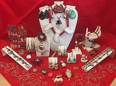 Massive CHRISTMAS JEWELRY Lot PINS BROOCHES Earrings Necklaces Bracelets 1