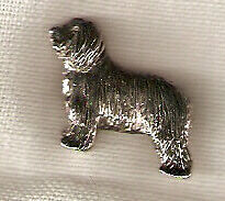 Bearded Collie Beardie Nickel Silver Brooch Pin Jewelry