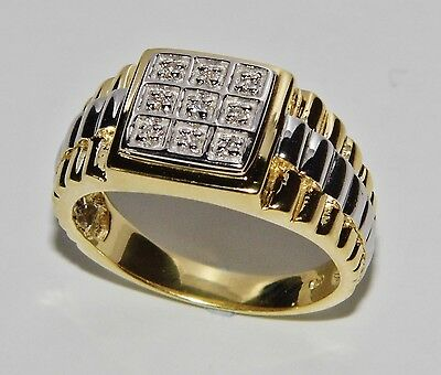 MEN'S 9 CT YELLOW GOLD ON SILVER 0.10ct ROLEX RING - SIZE T