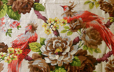 Vintage Tree of Life Bird Roses Barkcloth Fabric ~Coral Chartreuse Brown  #2