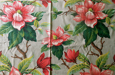 Vintage 40's  Huge Magnolia Floral Fabric ~ Red Pink Green Chartreuse Aqua Gray