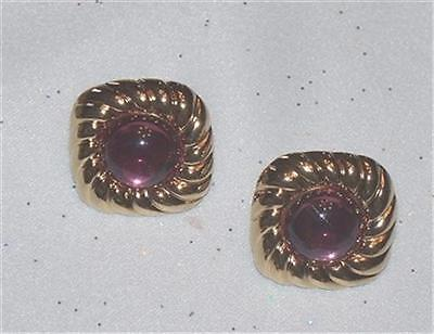 1980's Avon Spotlight Gold Tone Rope Pinkish Purple Cabochon Pierced Earrings