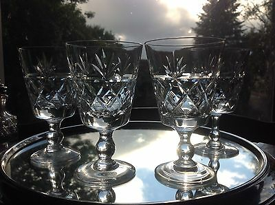 "4 Royal Brierley Crystal Bruce Wine Glasses 4 7/8"" Signed"