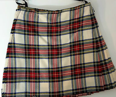 "Ex Hire 28"" waist 26"" drop Stewart Dressed  8 Yard Wool Kilt B condition"