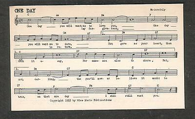 Tune-Dex performing rights info card- One Day- Billy & Larry Martin/Wise Music