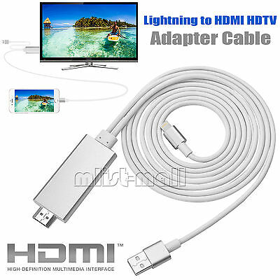 New 8 Pin Lightning to HDMI HDTV Cable Digital AV Adapter For iPhone 6s 7 7 Plus