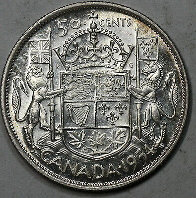 1954 CANADA Scarce Date BU Silver 50 cents Coin LOT C (16061219R)