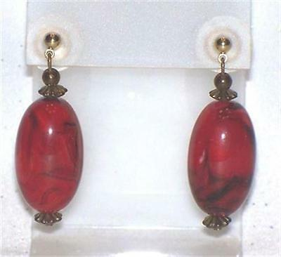 Red Marbled  Plastic Dangle Pierced Earrings  D163