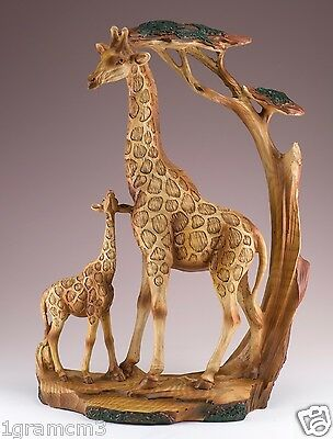Giraffe Mother and Baby Carved Wood Look Figurine Resin 12 Inch High NIB