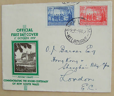 1937 Australia Official First Day Cover Sesqui-centenary New South Wales