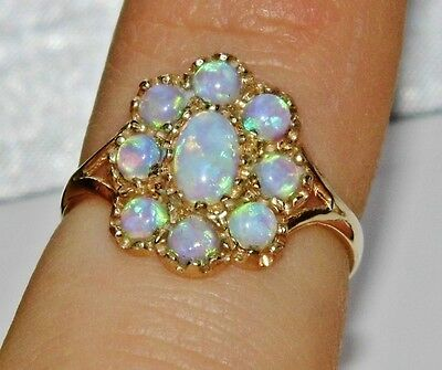 Victorian 9ct Yellow Gold Opal Cluster Ring - size O