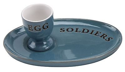 Country Kitchen Ceramic Egg And Soldiers Plate And Egg Cup Set ~ Blue