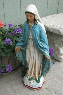 Gorgeous 25'' Statue OUR LADY OF GRACE Blessed Virgin Mary PLASTER **USA**
