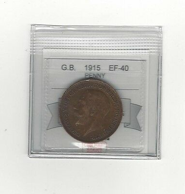 **1915**Great Britain, One Penny, Coin Mart Graded**EF-40**