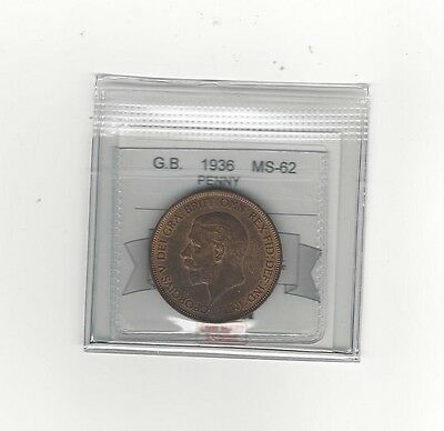 **1936**Great Britain, One Penny, Coin Mart Graded**MS-62**