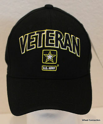 US ARMY BLACK TEXTURED GLOSSY MILITARY VETERAN HAT CAP NEW EMBROIDERED NEW