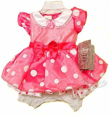 Disney Store Minnie Mouse Pink Costume Baby Toddler 3-6 Months Dress Deluxe NEW