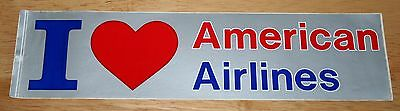 """Old Large """"I love American Airlines"""" (USA) Airline Sticker"""