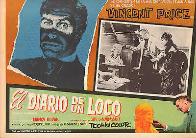 DIARY OF A MADMAN/ EL DIARIO  Mexican Lobby Card Film/Movie Poster VINCENT PRICE
