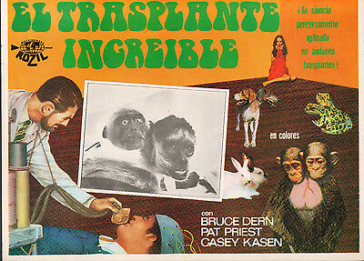 INCREDIBLE 2-HEADED TRANSPLANT Mexican Lobby Card FILM/MOVIE POSTER Bruce Dern