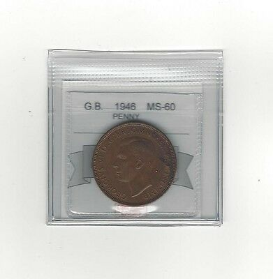 **1946**Great Britain, One Penny, Coin Mart Graded**MS-60**