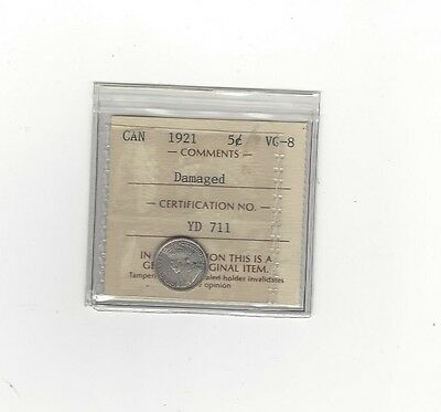 **1921**, ICCS Graded Canadian,  5 Cent, **VG-8**Damaged