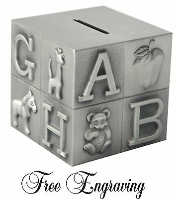 Personalized Baby Bank Block Pewter Finish Silver Engraved Free