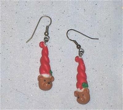 Christmas Bear Painted Plastic Dangle Pierced Earrings   J713