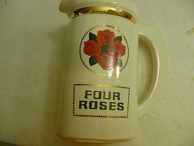 "Vintage Four Roses Blended Whiskey Pitcher Stein Jug 7"" White Red Gold Nyc Usa"
