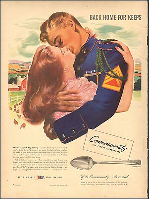 1943 Vintage ad for Community Silverplate`Art Marine WWII era (101016)