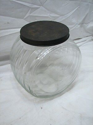 Sellers Glass Counter Jar Container Ribbed Striped Sugar/Cookie/Candy Canister